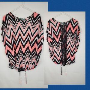 Julies closet boho Stretch Top lace back Chevron